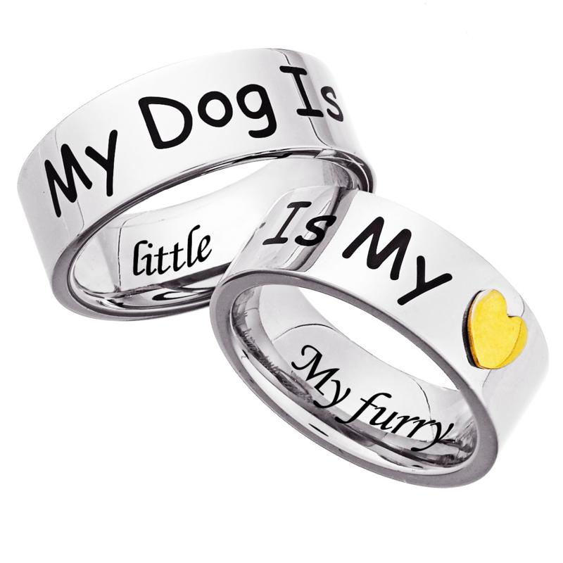 MBM COMPANY Stainless Steel Engraved Dog-Lover's Ring