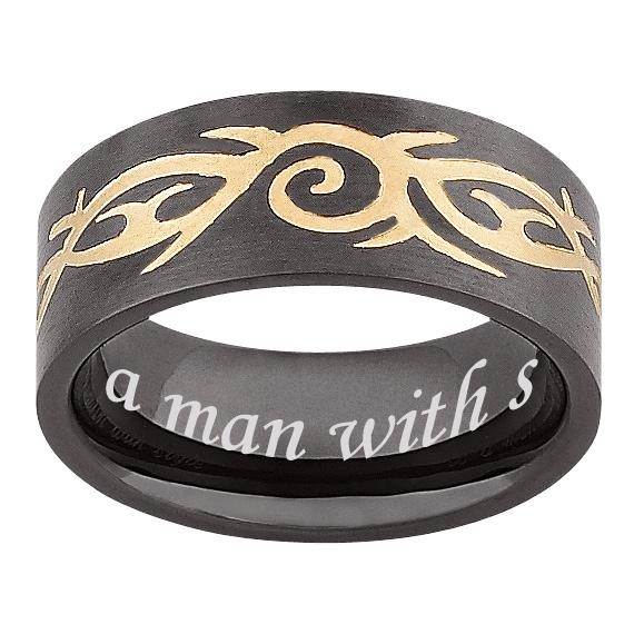 MBM COMPANY Men's Black Stainless Steel Engraved Tribal Band Ring