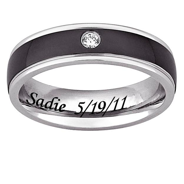 MBM COMPANY Black and White Stainless Steel and CZ Unisex Engraved Band Ring