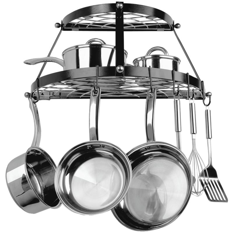 Range Kleen Stainless Steel Dual-Shelf Wall-Mount Pot Rack - Black
