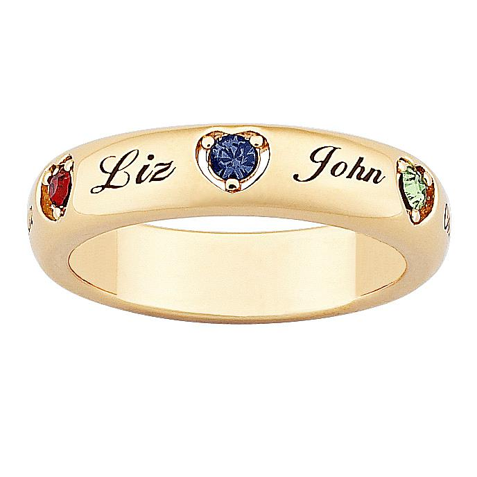MBM 18K Gold-Plated Sterling Silver Mother's Name and Heart-Shaped Birthstone Crystal Ring