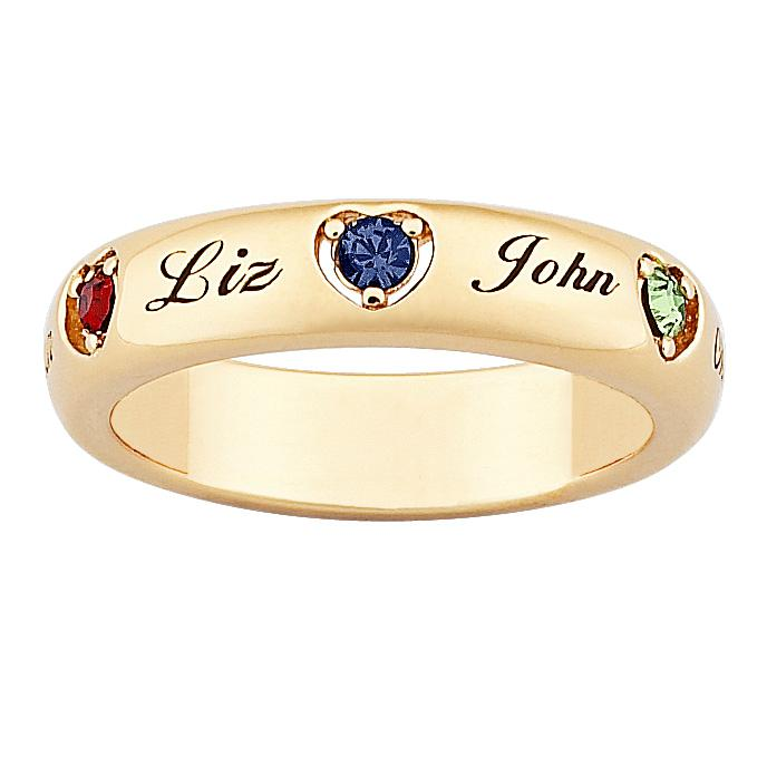 MBM COMPANY 18K Gold-Plated Sterling Silver Mother's Name and Heart-Shaped Birthstone Crystal Ring