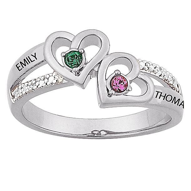 "MBM COMPANY Sterling Silver Couple's ""Heart"" Birthstone-Color Crystal and Name Diamond Ring"""