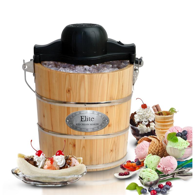 Elite Elite Gourmet 4qt. Electric and Manual Old Fashioned Ice Cream Maker
