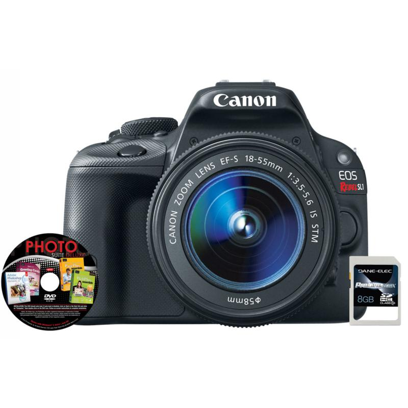 Canon Canon EOS Rebel SL1 18MP DSLR Full HD Camera Kit with 18-55mm Lens, 8GB SDHC Memory Card and Software