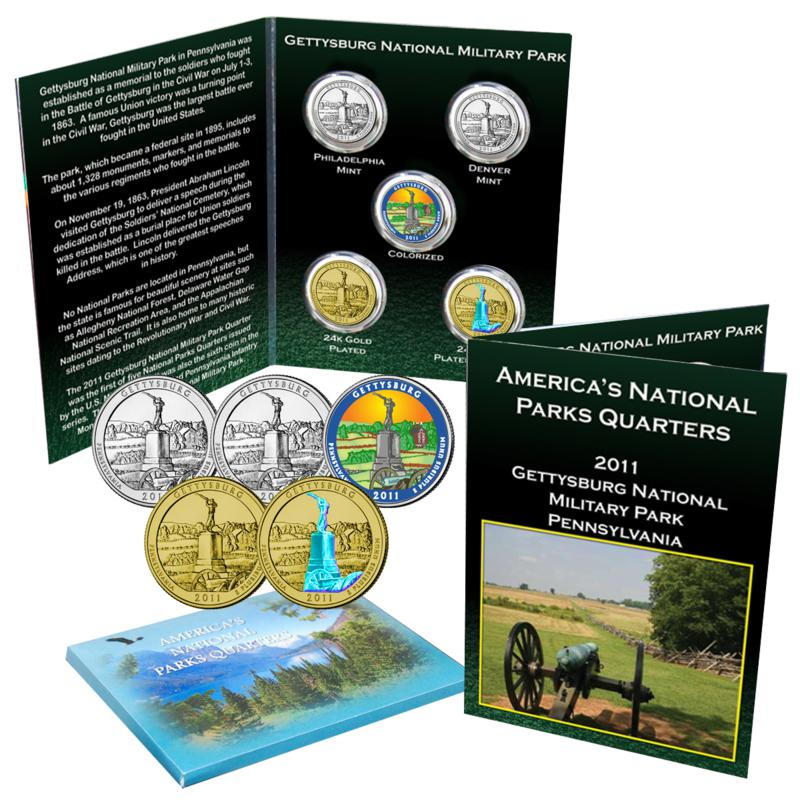 Coin Collector 5pc 2011 National Parks Quarters - Gettysburg, PA