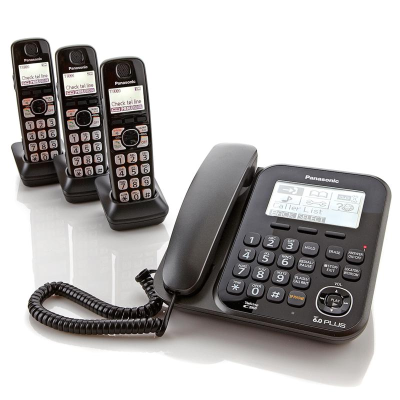 Panasonic Corded and Cordless 4-Handset Phone System with Digital Answering System
