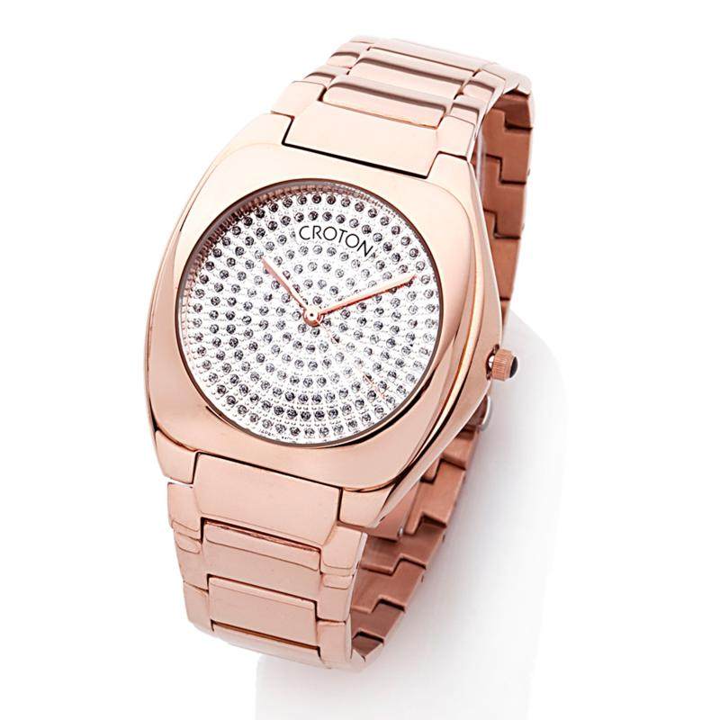 Croton Unisex Rosetone Stainless Steel Cushion Case Textured Dial Dress Watch