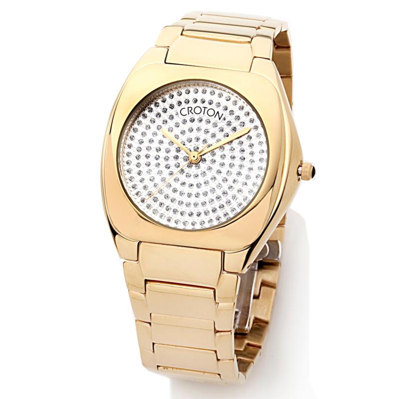 Croton Unisex Goldtone Cushion Case Silvertone Textured Dial Dress Bracelet Watch