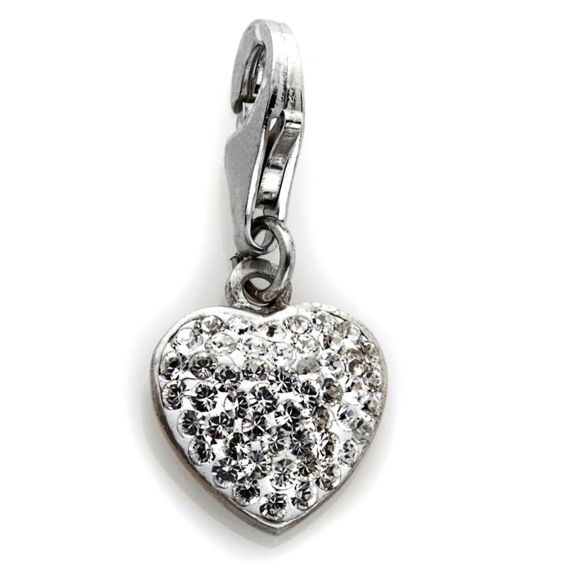 Charming Silver Inspirations Sterling Silver Clear Crystal Heart Dangle Charm