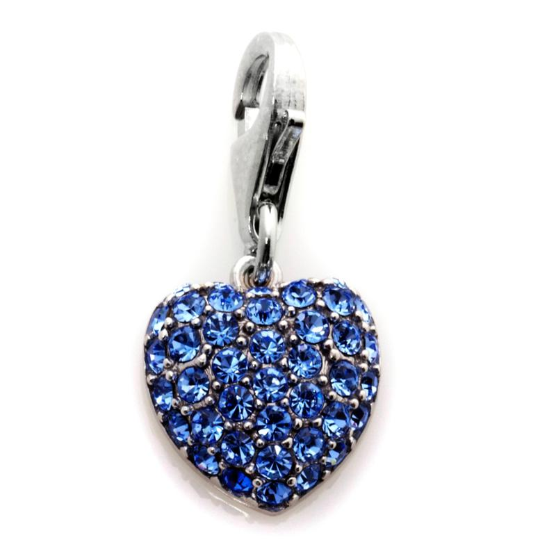 Charming Silver Inspirations Sterling Silver Blue Crystal Heart Dangle Charm