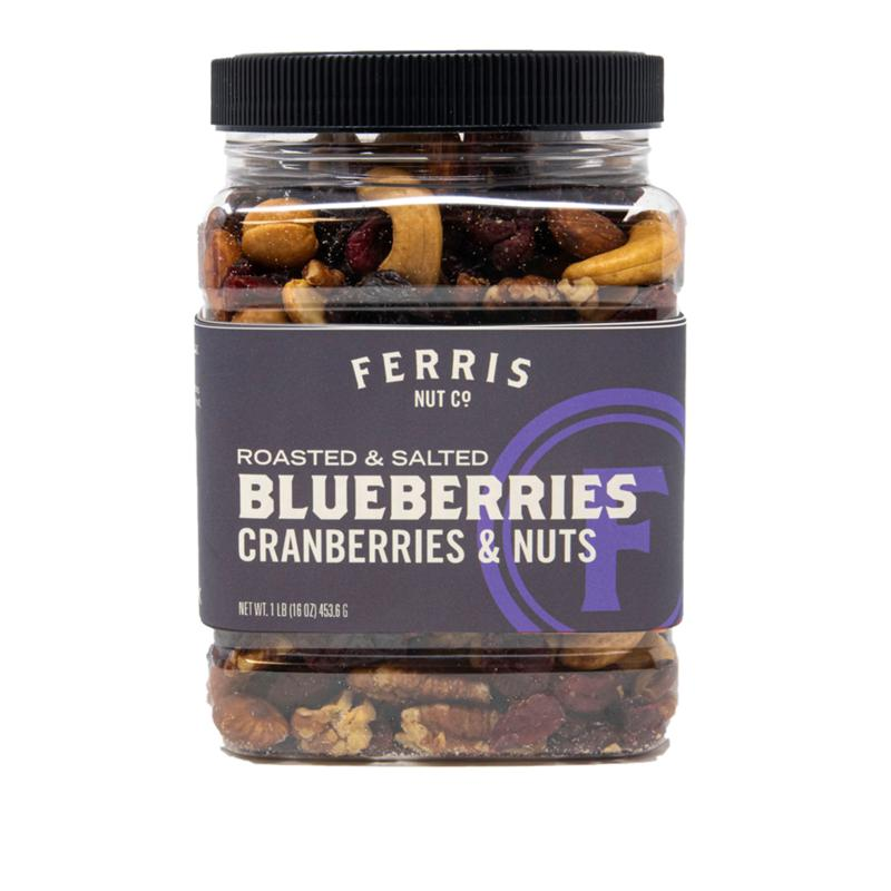 Ferris Coffee & Nut Co. Ferris Company (3) 1 lb. Jars Blueberries, Cranberries and Nuts - Roasted and Salted
