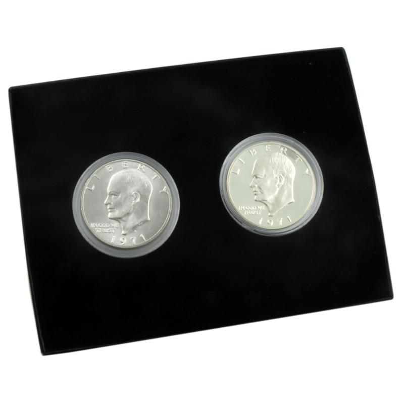 Coin Collector Set of 2 Secret 1971 S-Mint Eisenhower Silver Dollars