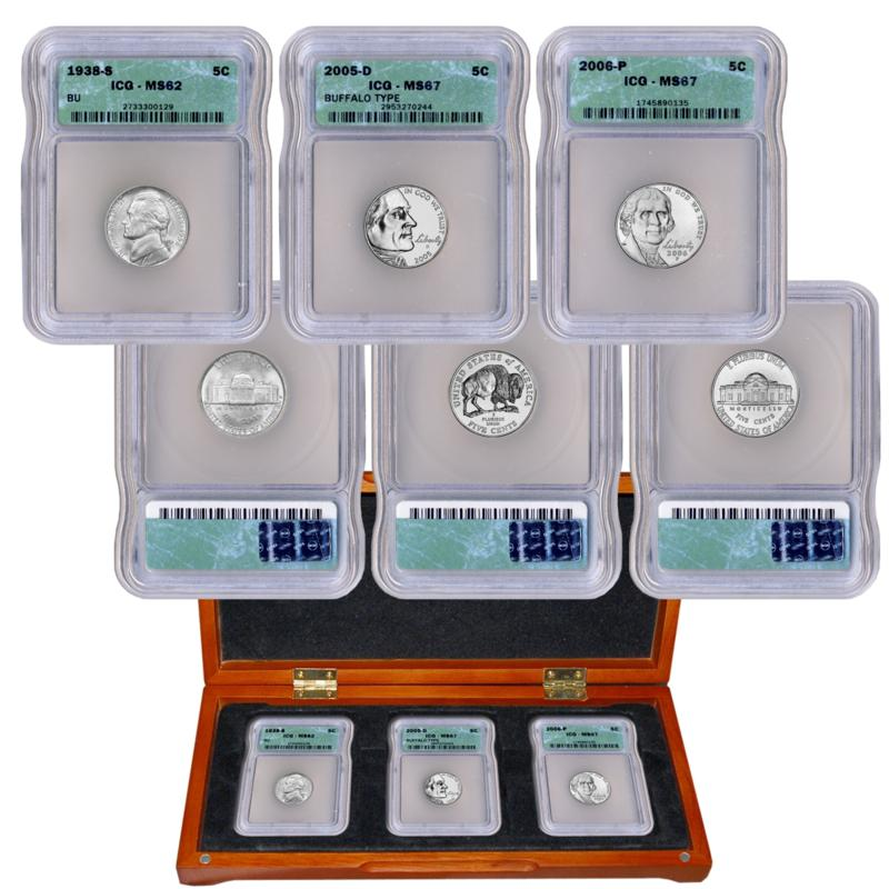 Coin Collector Three Faces of Jefferson MS62 or Better Nickel Set