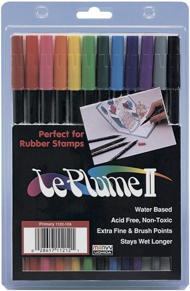 UCHIDA LePlume II Marker Set - 12 Assorted Primary Colors