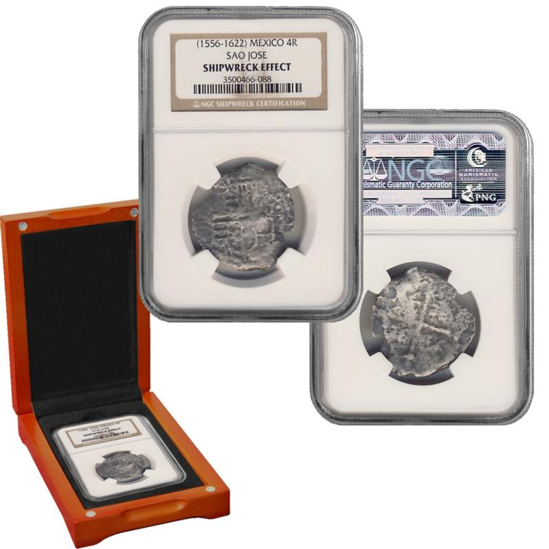 Coin Collector Sao Jose 4 Reales Shipwreck Recovery 90% Silver NGC-Certified Coin