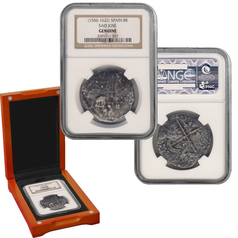 Coin Collector Sao Jose 8 Reales Shipwreck Recovery 90% Silver NGC-Certified Coin