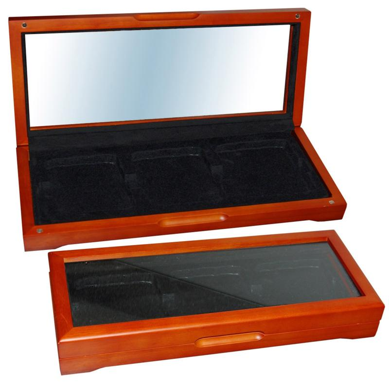 Coin Collector Oak Display Box for 3 Slabbed Coins