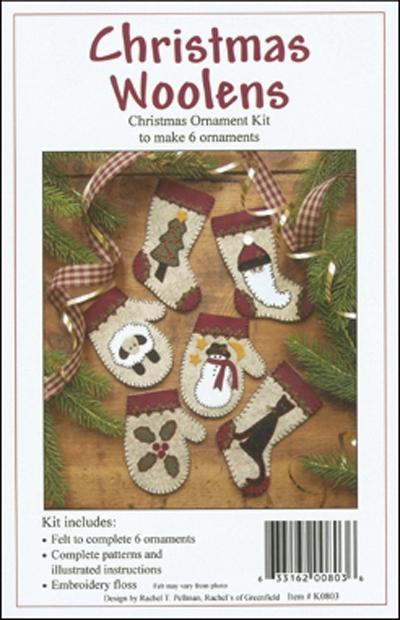 RACHEL'S OF GREENFIELD Christmas Woolens Ornament Kit - Makes 6