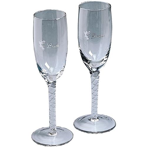 Bride and Groom Twisted Champagne Glasses