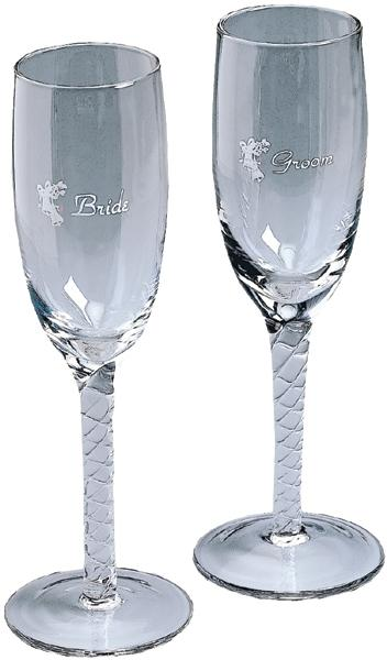 DARICE Bride and Groom Twisted Champagne Glasses