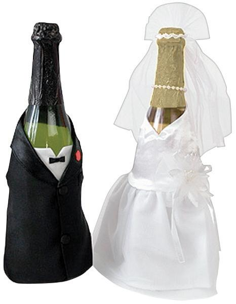 DARICE Bride and Groom Satin Bottle Cover Set