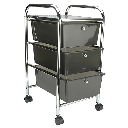 Cropper Hopper Home Storage Rolling Organizer - 3 Drawer - Smoke