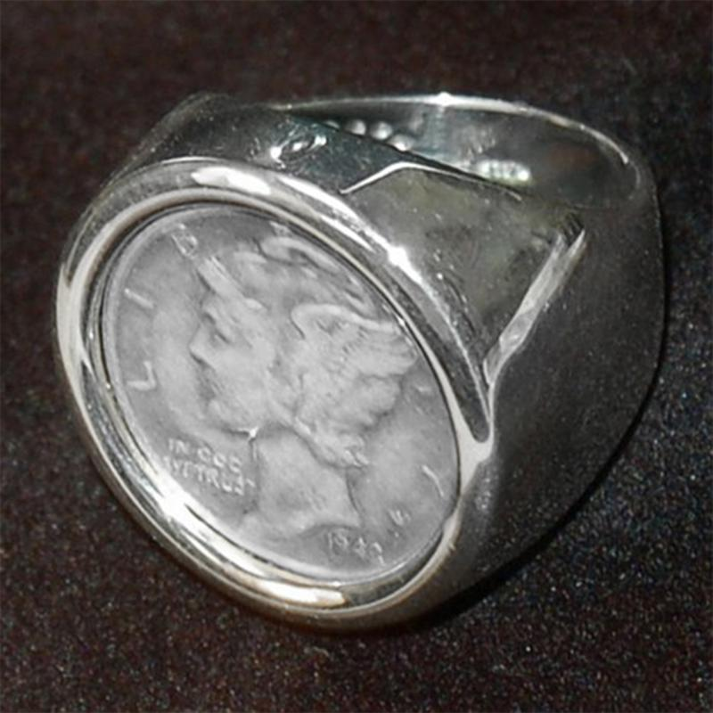 Coin Collector Mercury Dime Sterling Silver Round Polished Ring