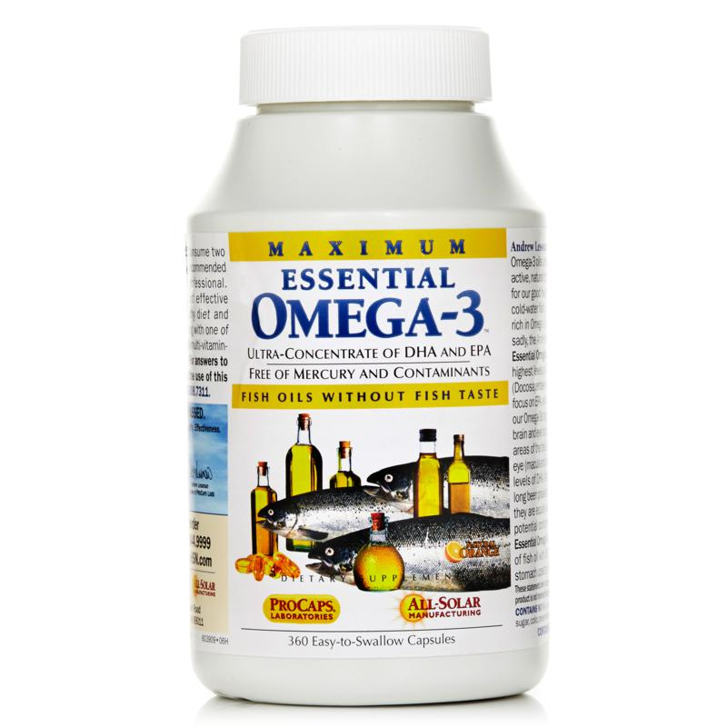 Andrew Lessman Maximum Essential Omega-3 - No Fishy Taste - Orange - 360 Capsules
