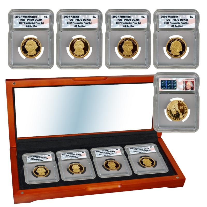 Coin Collector 2007 PR70 ICG DCAM 4-coin Presidential Dollar Set