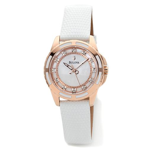 Bulova Women's Rosetone and White Mother-of-Pearl Dial 0.36ct Diamond White Leather Strap Watch