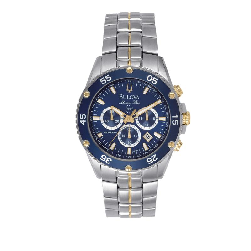 Bulova Bulova Men's Blue Dial 2-Tone Stainless Steel Marine Star Collection Chronograph Bracelet Watch
