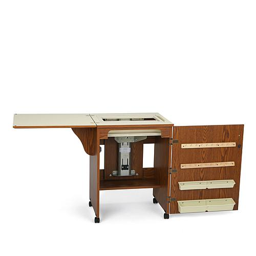 Compact Airlift Sewing Machine Cabinet - Oak