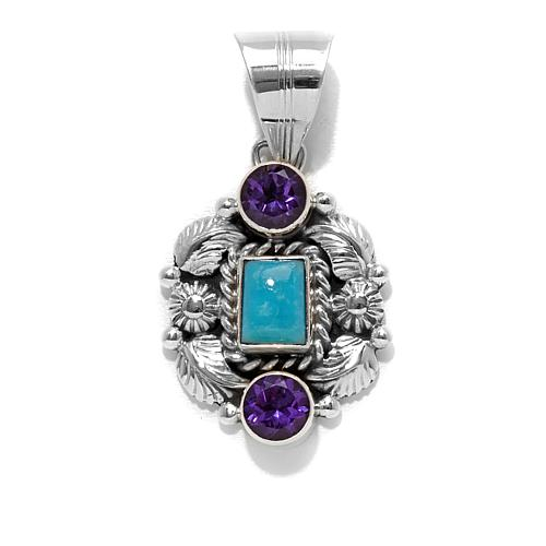 Chaco Canyon Couture Kingman Turquoise and Africa Amethyst Sterling Silver