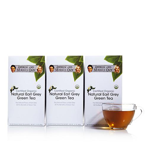 Andrew and Muriel's Own Organic Earl Grey Green Tea - 90 Packets