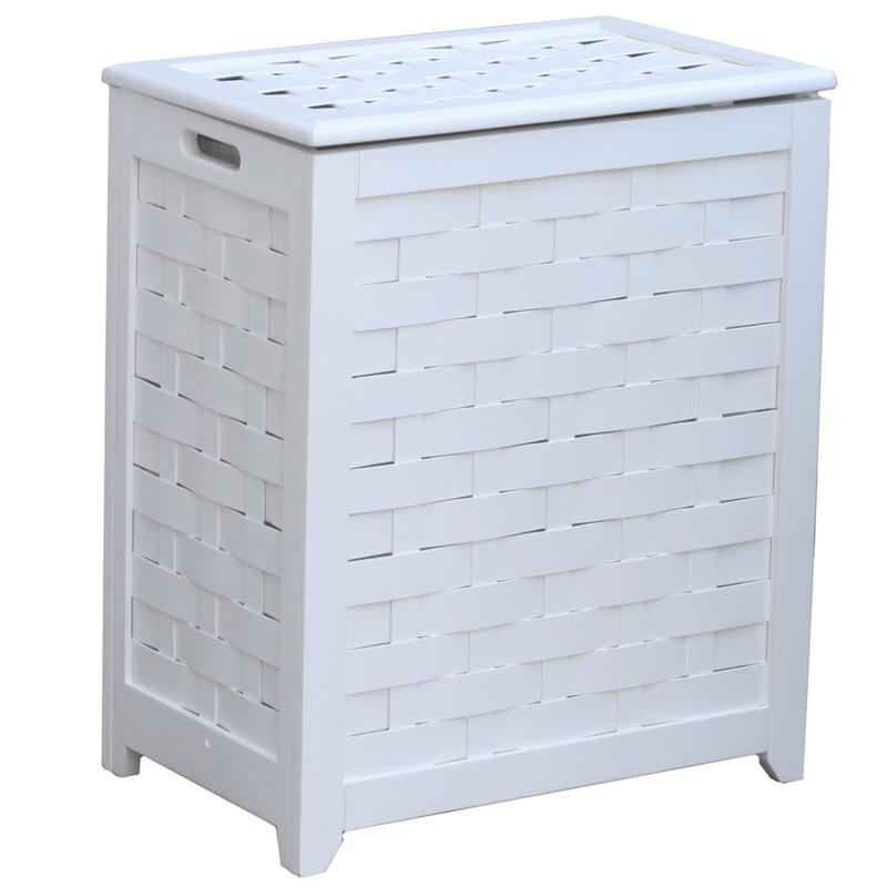 Oceanstar Design Oceanstar Rectangular Veneer Wood Laundry Hamper