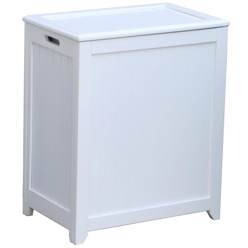 Oceanstar Design Oceanstar Rectangular Wainscott Wood Laundry Hamper