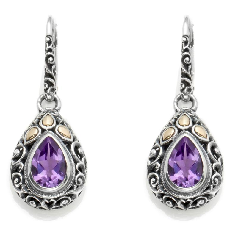 Bali Designs by Robert Manse Bali Designs by Robert Manse Gemstone Sterling Silver and 18K Gold Scrolled Drop Earrings