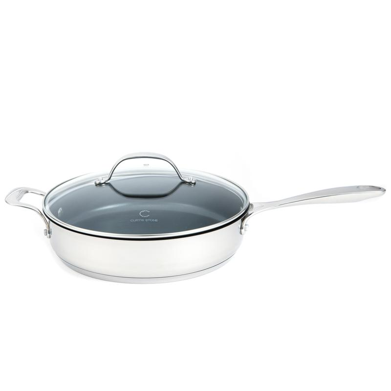 Curtis Stone Curtis Stone SteelWorks Stainless Steel Sauté Pan with Lid