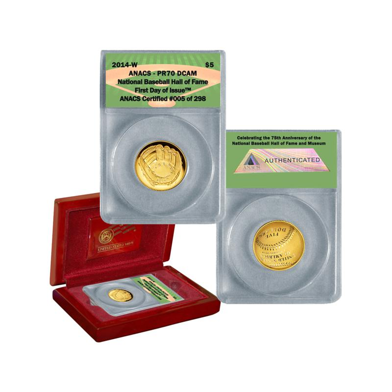 Coin Collector 2014 PR70 ANACS FDOI LE 298 Baseball Hall of Fame 75th Anniversary Commemorative Proof $5 Gold Coin