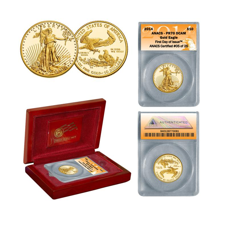 Coin Collector 2014 PR70 ANACS First Day of Issue Limited Edition of (25) $10 Gold Eagle Coin