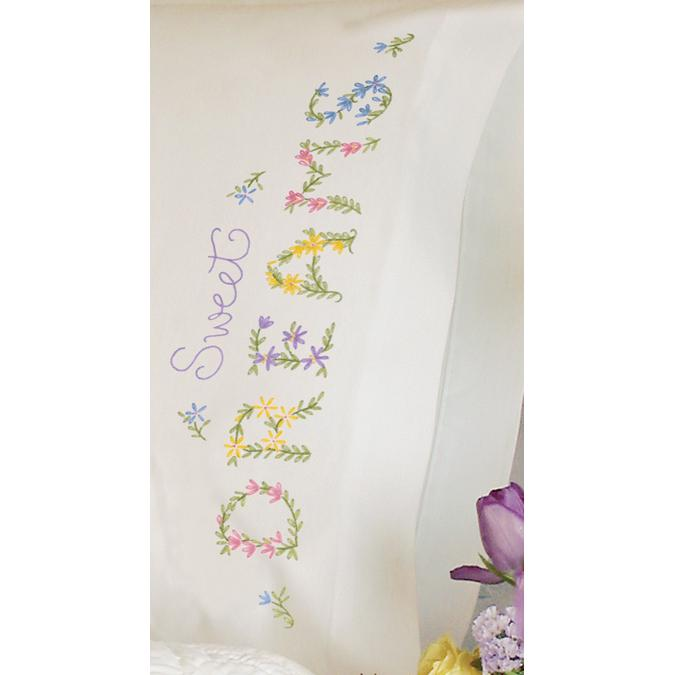 DIMENSIONS Stamped Embroidered Dreams Pillowcase Kit