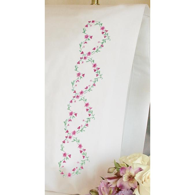 DIMENSIONS Stamped Embroidered Rose Hearts Pillowcase Kit