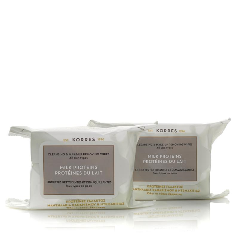Korres Korres Milk Proteins Cleansing & Makeup Removing Wipes Duo