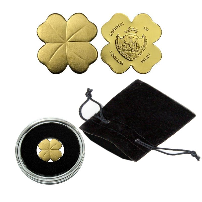 Coin Collector Golden Four-Leaf Clover .9999 Gold $1 Palau Coin