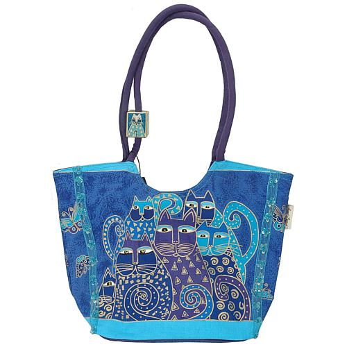 Laurel Burch Scoop Tote - Indigo Cats