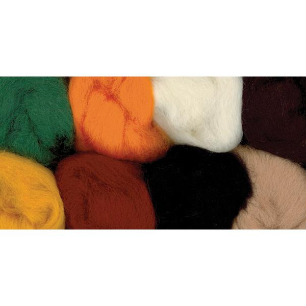 WISTYRIA EDITIONS 100% Wool Roving 8-Pack - Yellow, Brown, Orange, White, Black, Green, Tan, Rust
