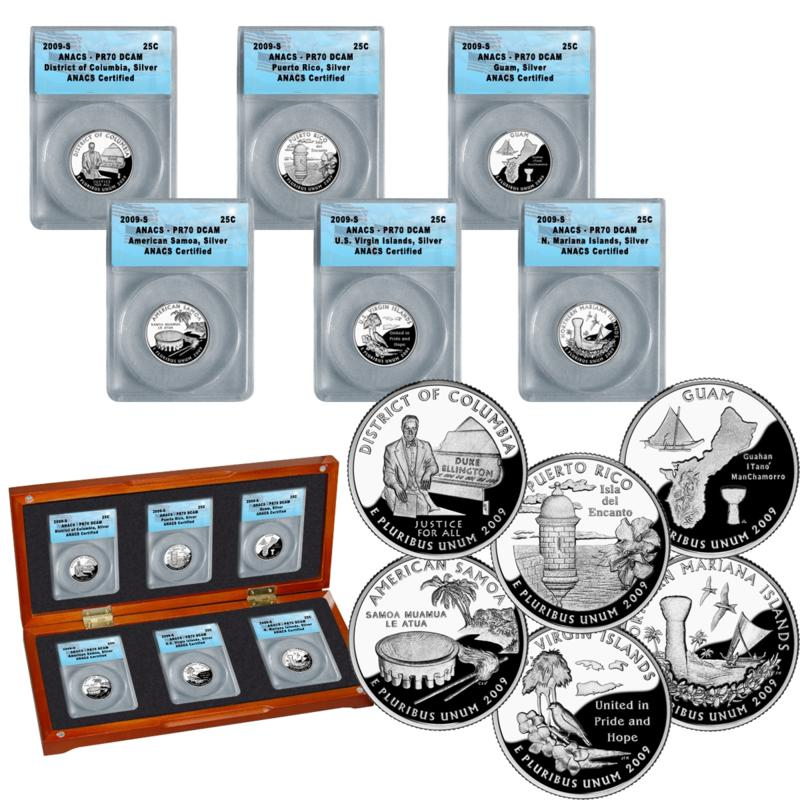 Coin Collector 2009 PR70 ANACS Silver DC and Territorial State Quarters - Complete Set of 6