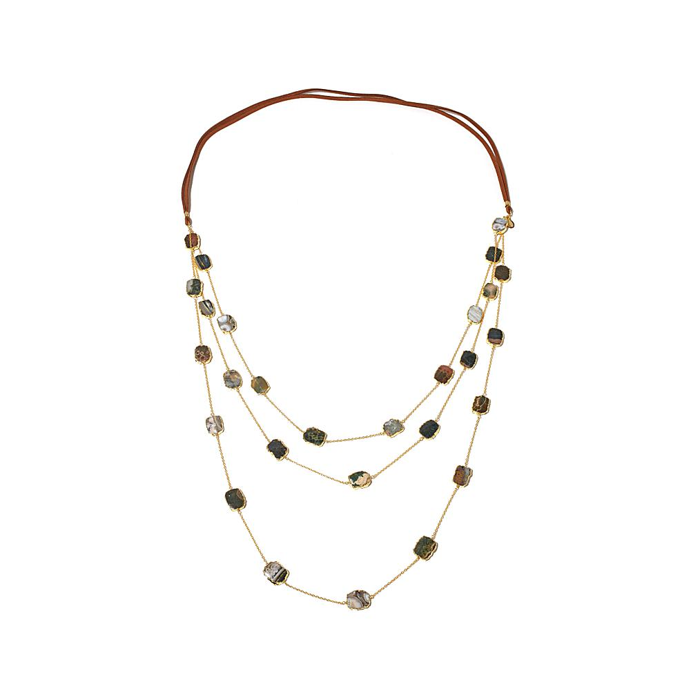 Rarities: Fine Jewelry With Carol Brodie Ocean Jasper Vermeil And Leather Multi-Strand 44
