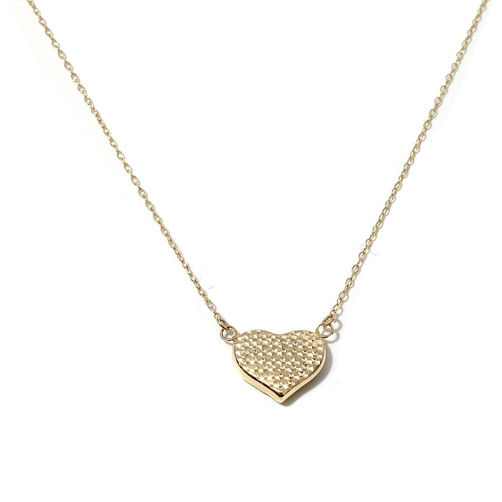 Michael Anthony Jewelry 14K Gold Diamond-Cut Puffed-Heart 17